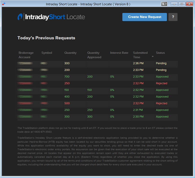 Intraday Short Locate