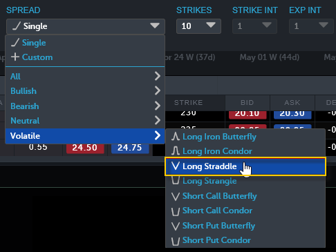 Selecting an option spread strategy in Web Trading.
