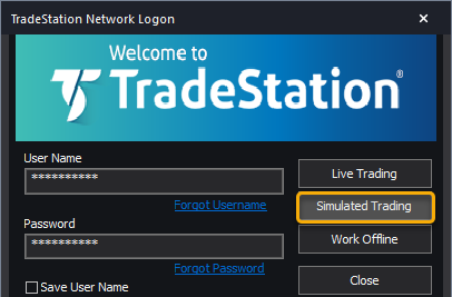 Simulated Trading Login