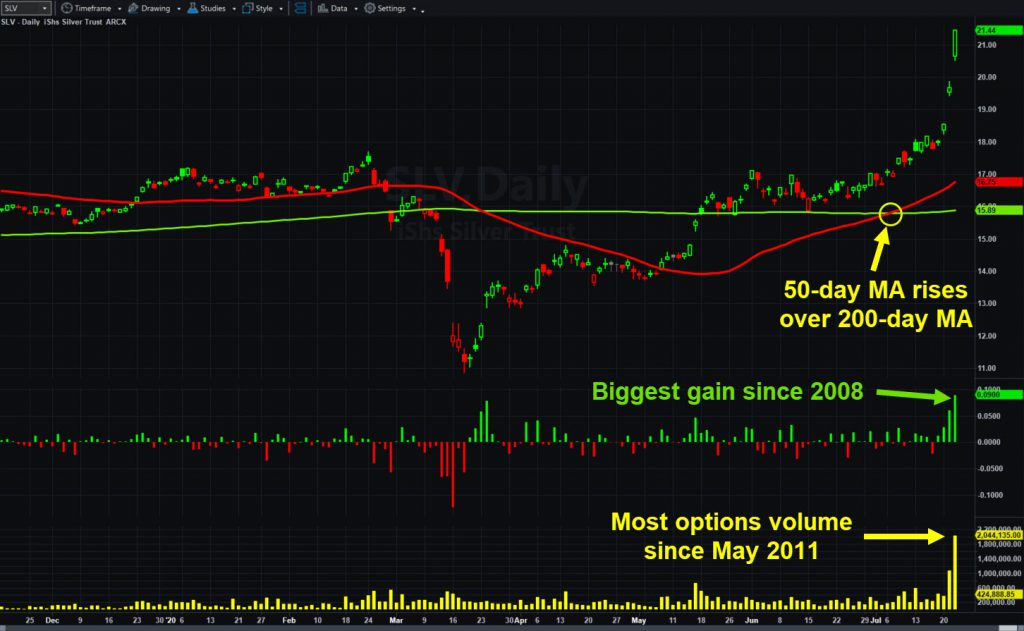 iShares Silver ETF (SLV) with options volume, daily changes and key moving averages.