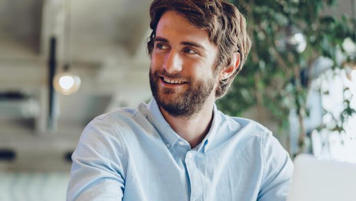 ETF investor smiling
